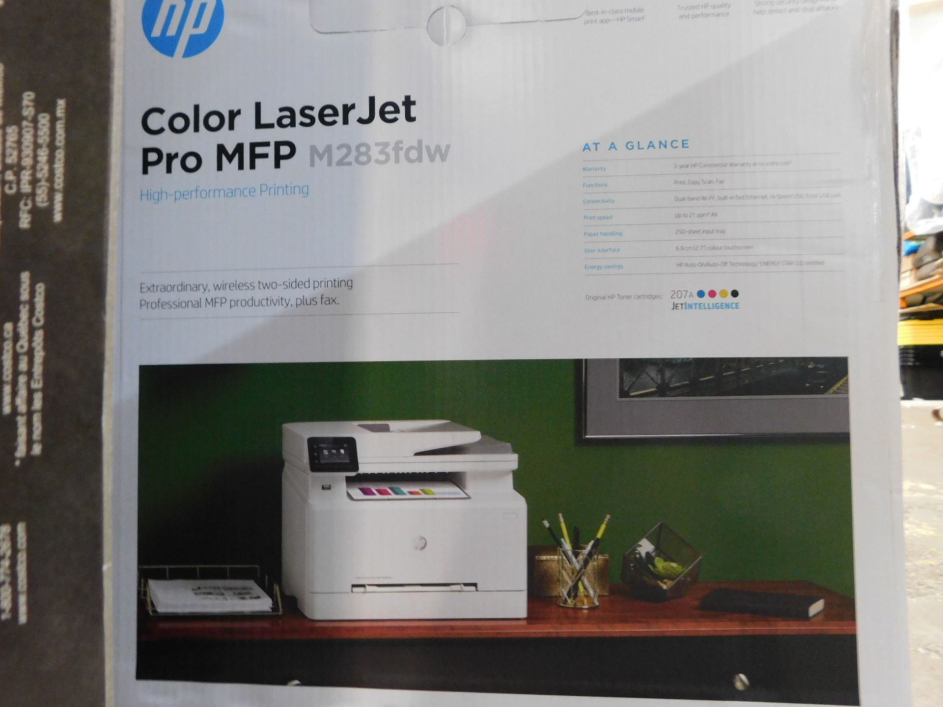 1 BOXED HP COLOR LASERJET PRO MFP M283FDW ALL-IN-ONE WIRELESS LASER PRINTER WITH FAX RRP £399