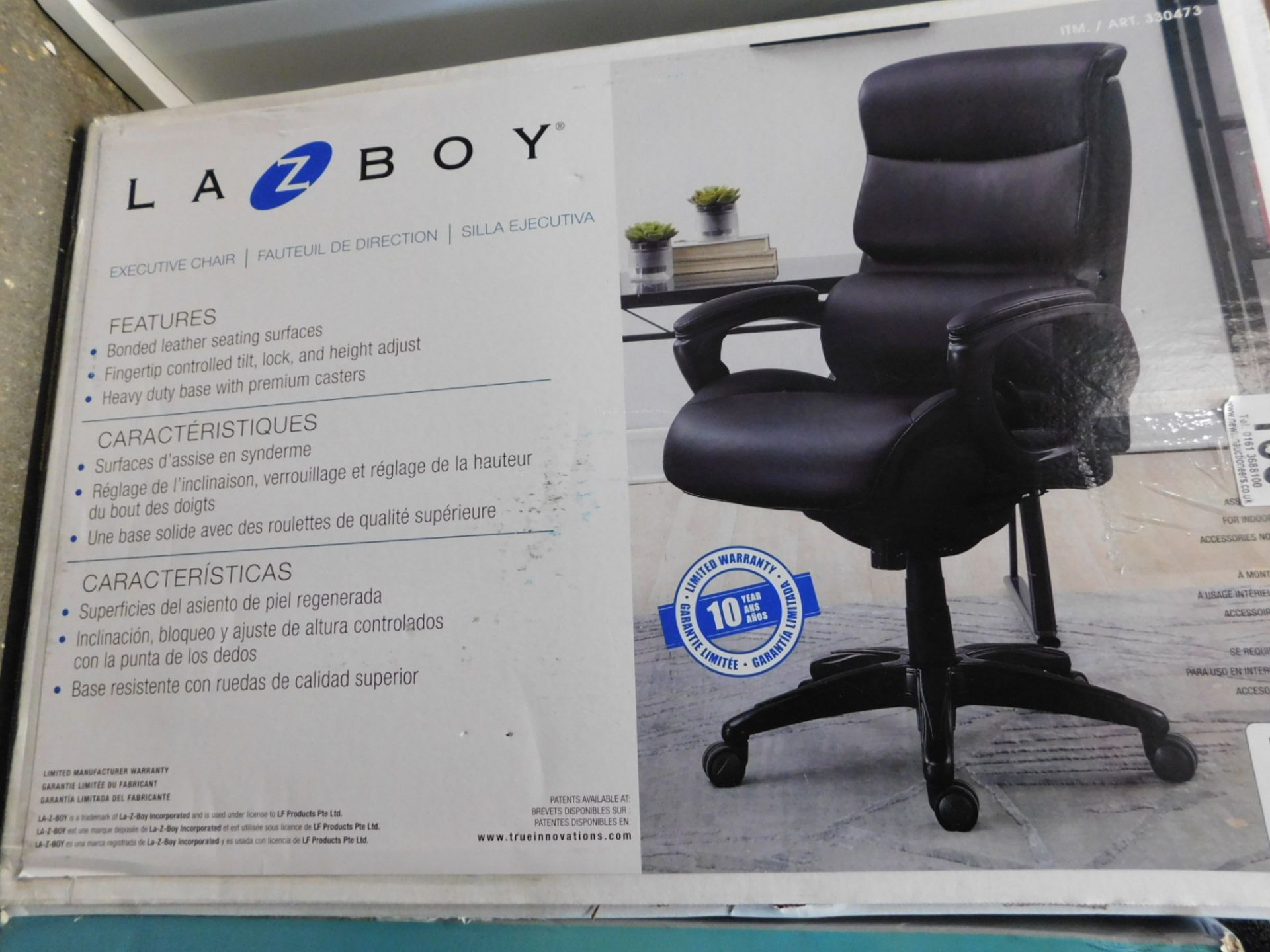 1 BOXED LA-Z-BOY AIR EXECUTIVE BLACK BONDED LEATHER OFFICE CHAIR RRP £299
