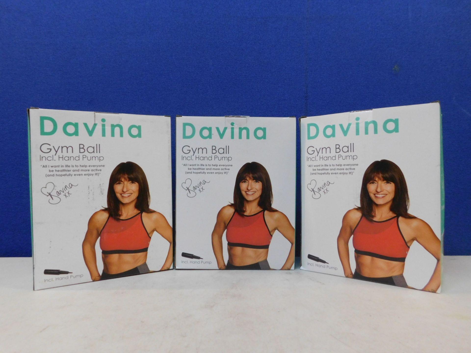 1 SET OF 3 BRAND NEW BOXED DAVINA GYM BALLS RRP £39