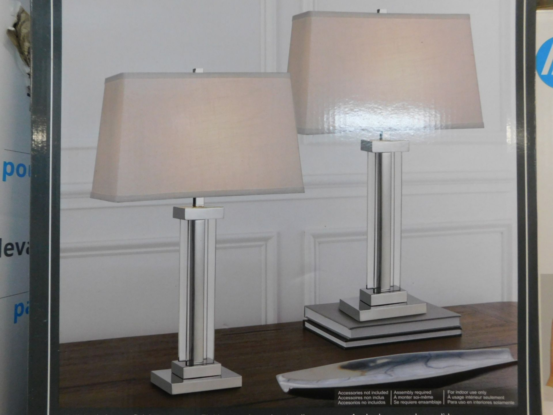 1 BOXED PAIR OF KATE CRYSTAL TABLE LAMPS RRP £79
