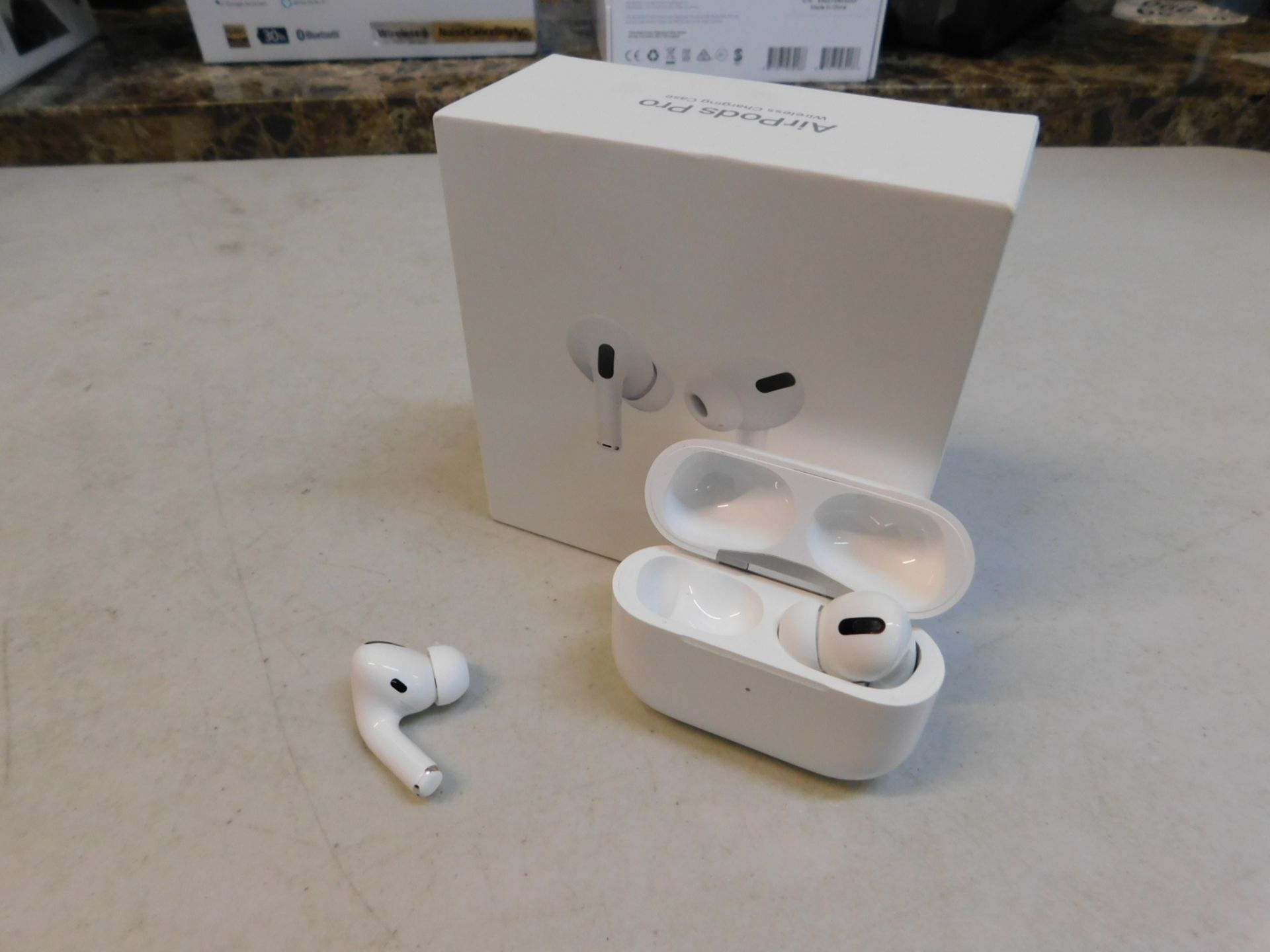 1 BOXED PAIR OF APPLE AIRPODS PRO BLUETOOTH EARPHONES WITH WIRELESS CHARGING CASE RRP £249.99 (