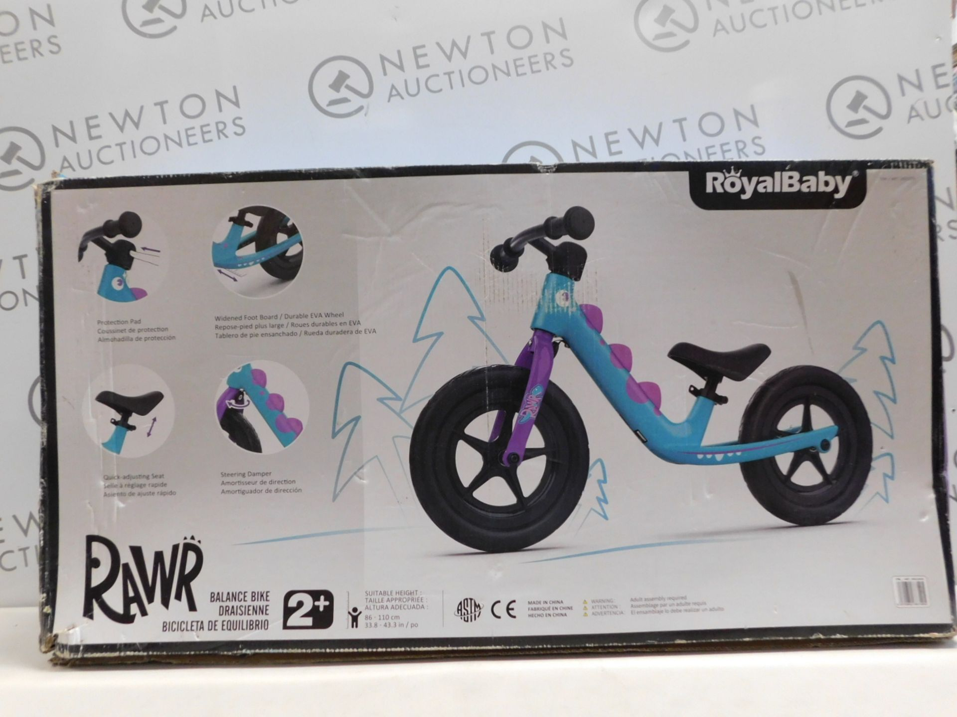 1 BOXED ROYALBABY BOYS BALANCE BIKE RAWR RRP £99