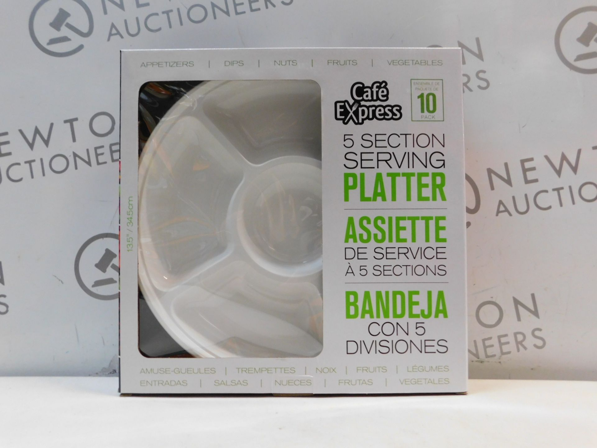 1 BRAND NEW BOXED CAFE EXPRESS 10PK WHITE PLASTIC 5 SECTION SERVING PLATTER RRP £14.99