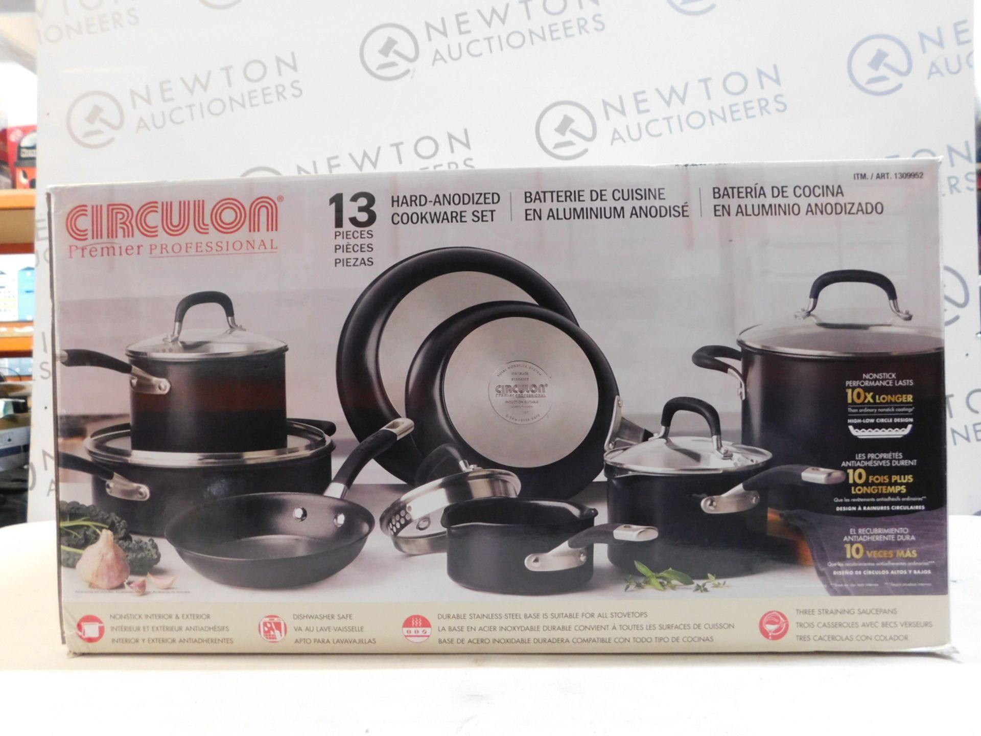1 BOXED CIRCULON PREMIER PROFESSIONAL 12(APPROX)PIECE HARD ANODISED PAN SET RRP £229.99
