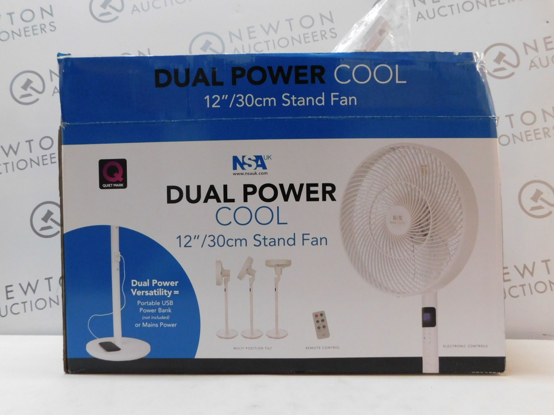 """1 BOXED NSA DUAL POWER 12"""" STAND FAN SFDC-30128RC RRP £99"""