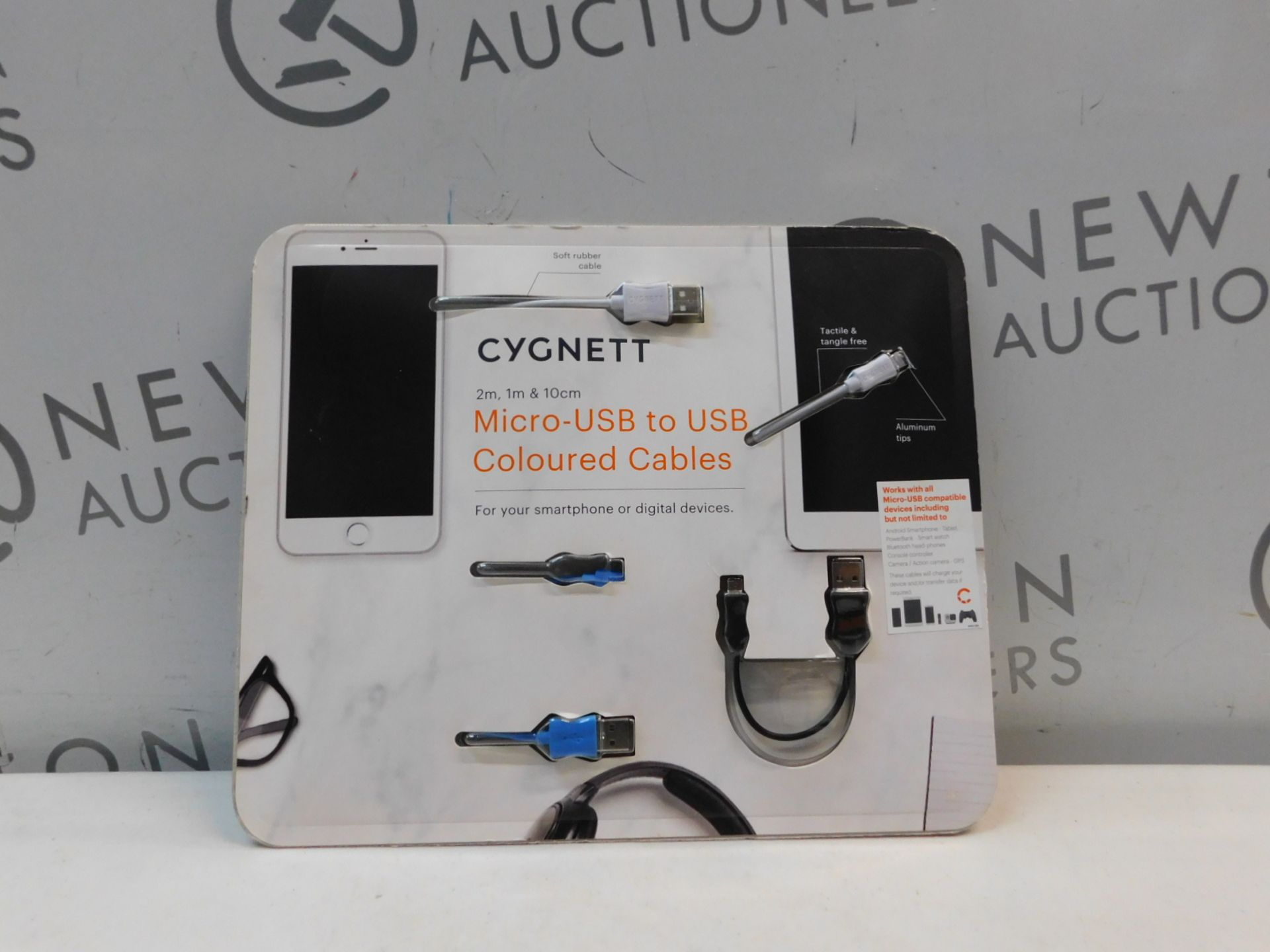 1 BRAND NEW PACK OF 3 CYGNETT MICRO USB TO USB COLOURED CABLES RRP £29.99