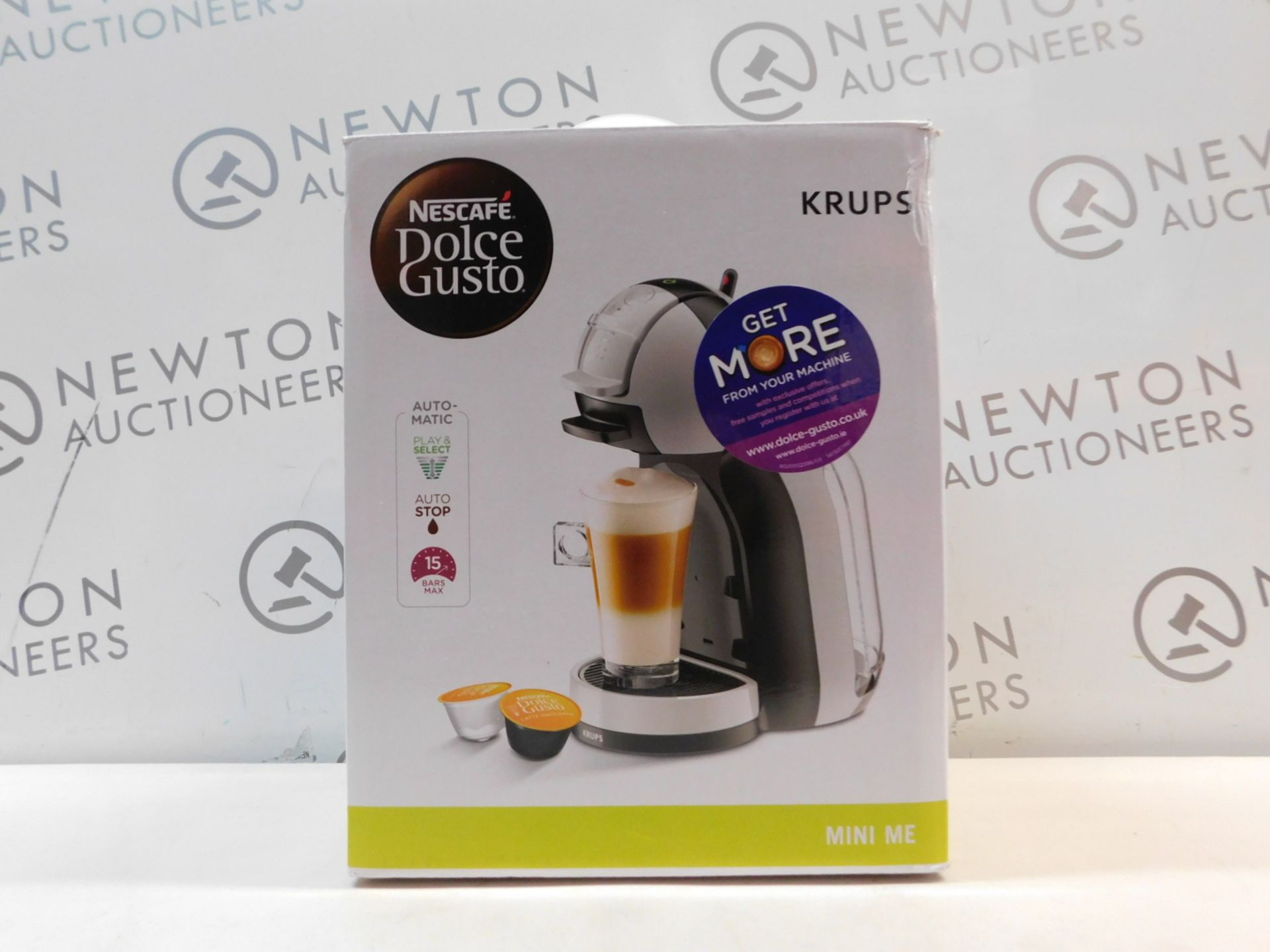 1 BOXED NESCAFE DOLCE GUSTO AUTOMATIC COFFEE POD MACHINE BY KRUPS RRP £114.99 (POWERS ON)