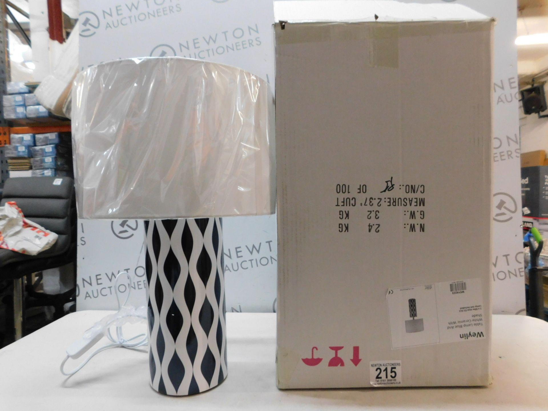 1 BOXED WEYLIN CERAMIC TABLE LAMP [H 56 X W 32CM] RRP £69