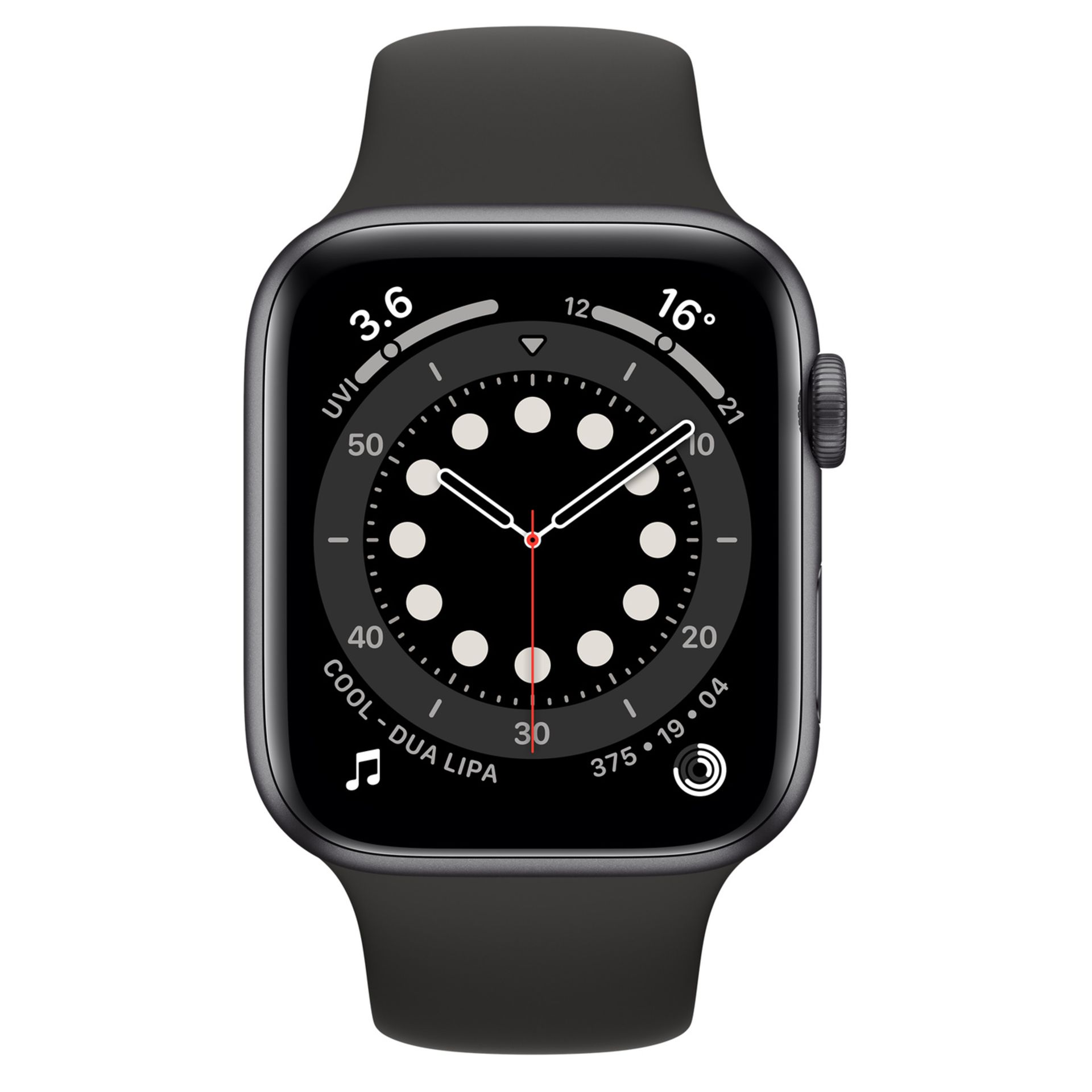 1 BOXED APPLE WATCH M00H3B/A SERIES 6 44MM SPACE GRAY ALUMINIUM WITH BLACK SPORT BAND RRP £399 (