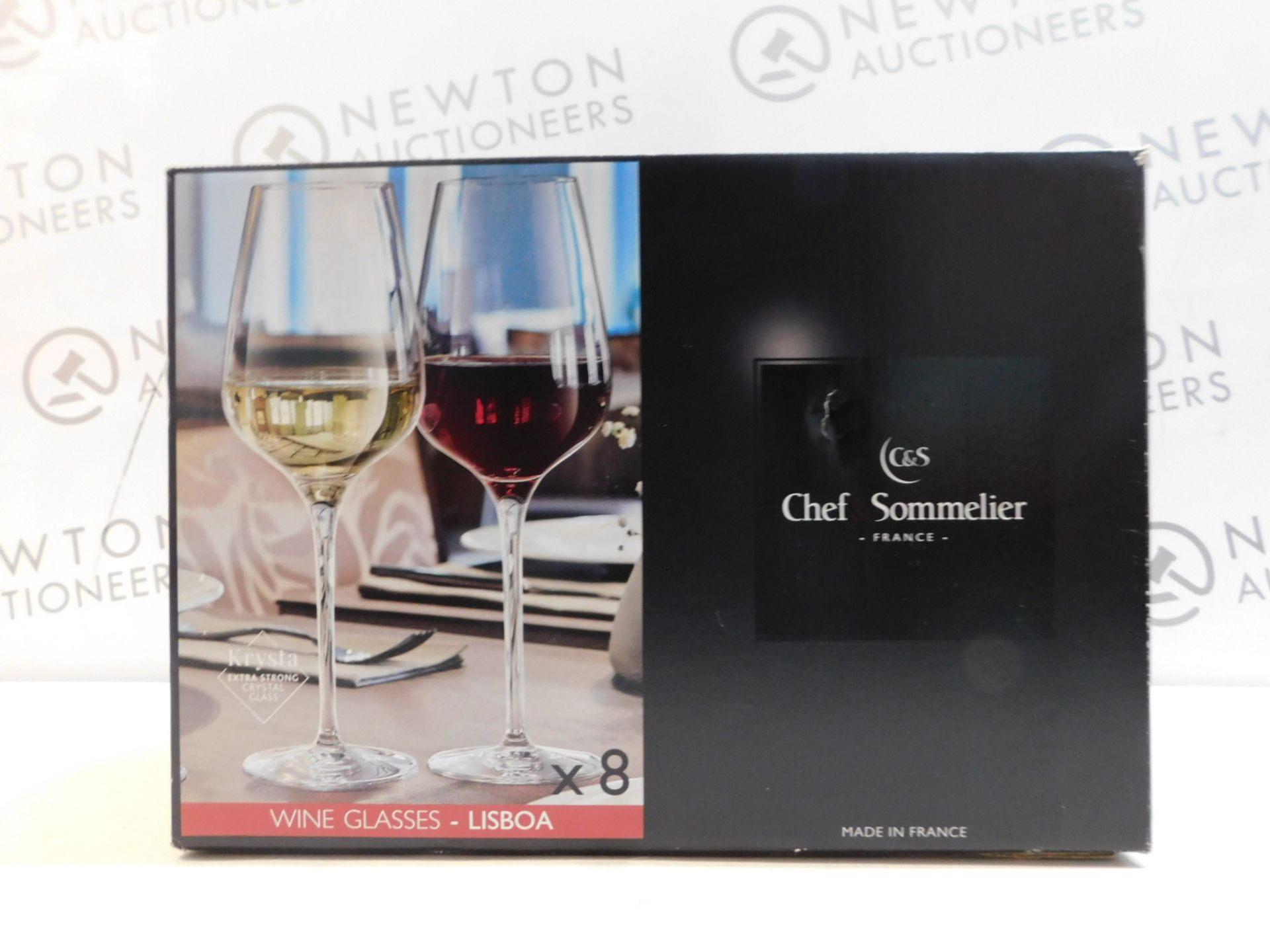 1 BOXED CHEF & SOMMELIER 8 (APPROX0 PIECE KRYSTA EXTRA STRONG CRYSTAL WINE GLASSES RRP £39.99