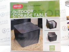 1 BOXED KETER OUTDOOR STORAGE TABLE 92L GARDEN PATIO RATTAN RRP £99