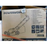 1 BOXED POWERWORKS 82V CORDLESS 46CM SELF PROPELLED LAWN MOWER WITH CHARGER AND BATTERY RRP £599