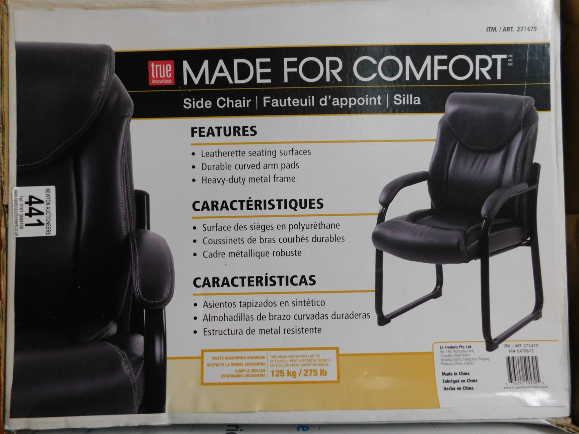 1 BOXED TRUE INNOVATIONS BLACK BONDED LEATHER OFFICE GUEST CHAIR RRP £119.99