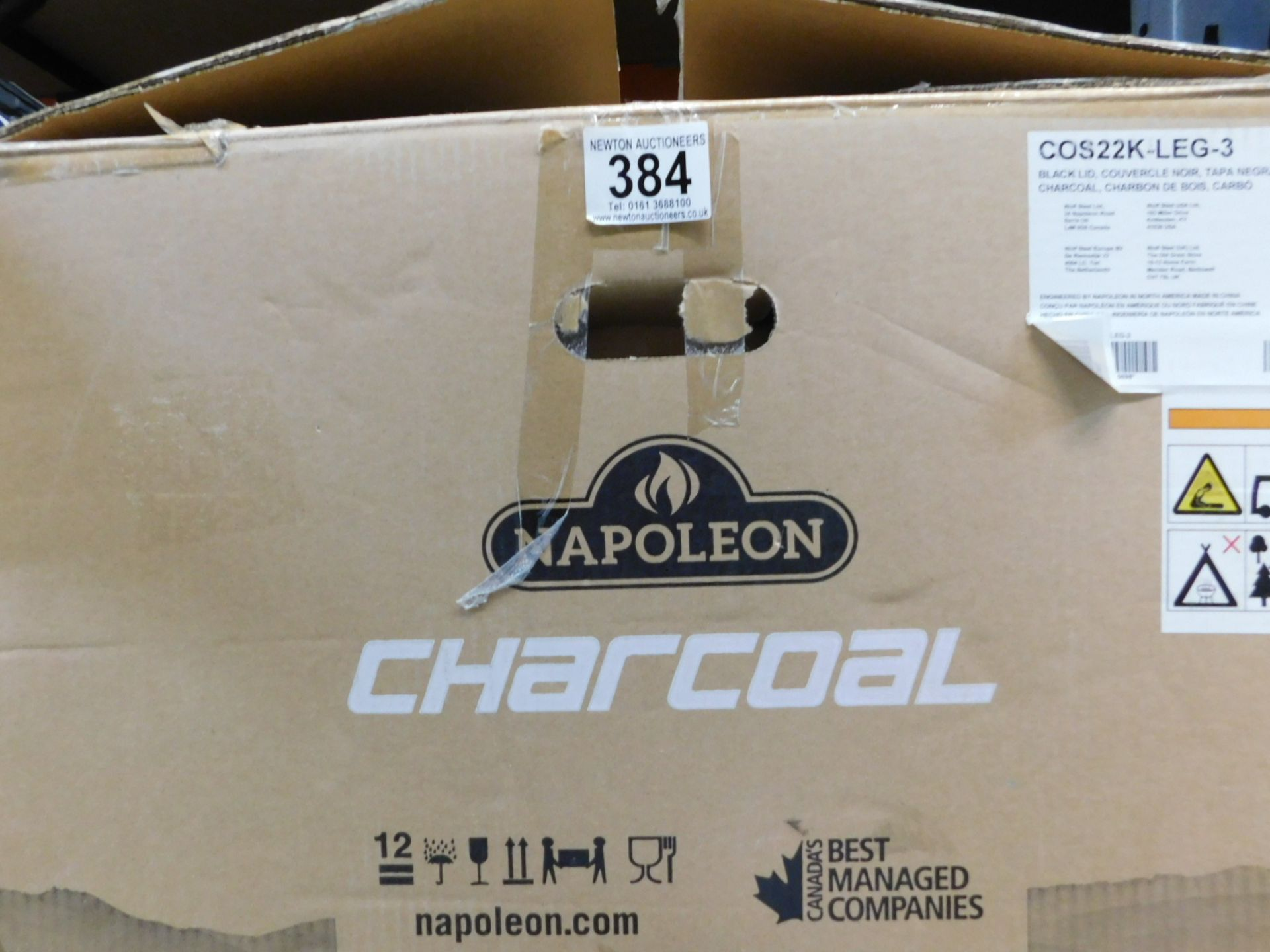 """1 BOXED NAPOLEON 22"""" (56CM) CHARCOAL KETTLE BARBECUE GRILL RRP £199"""