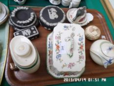 6 black Wedgwood dressing table pieces, Wade sherry keg, Copeland Spode lidded cheese dish,