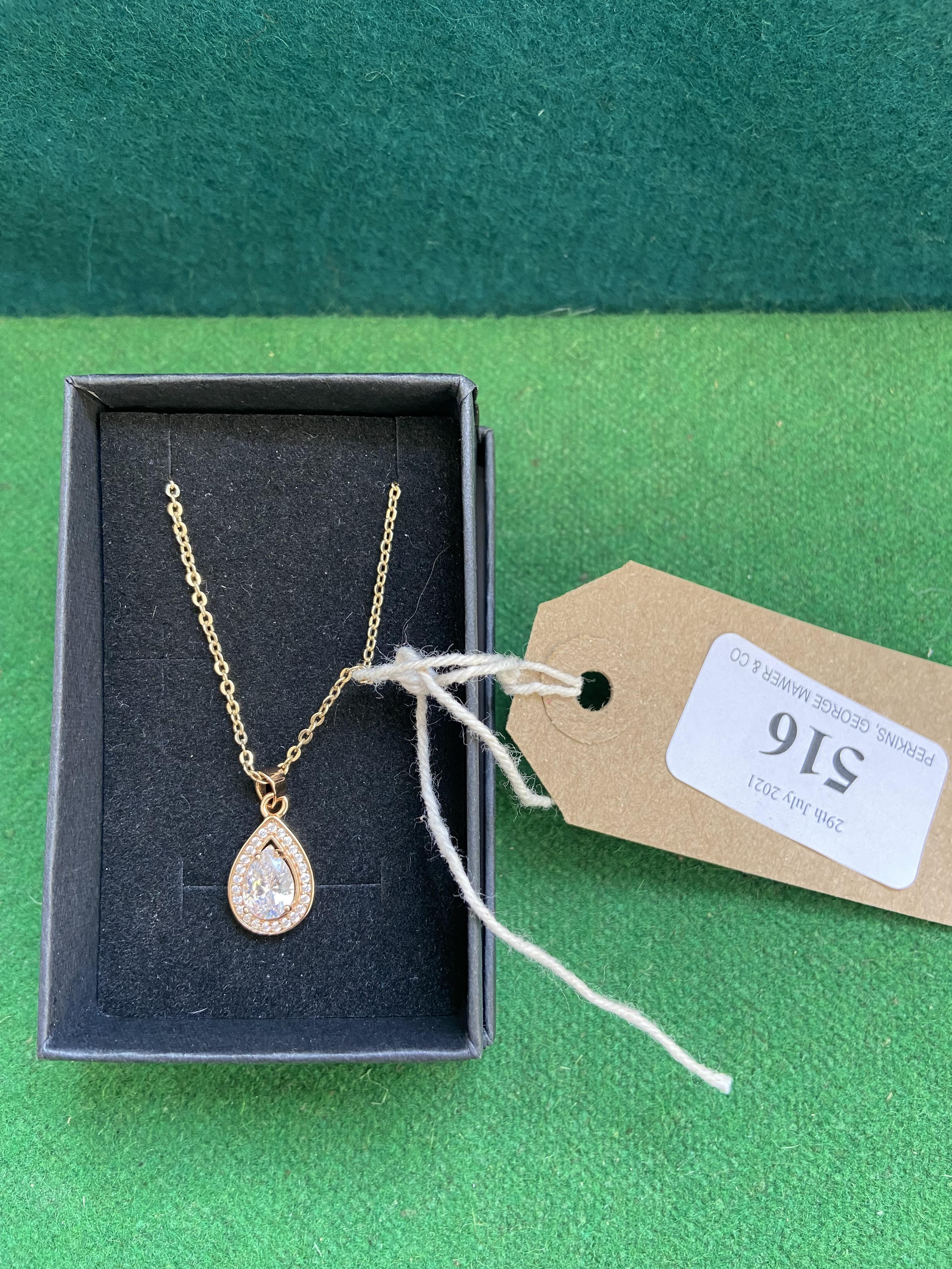 Silver gilt pendant and chain