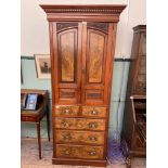 Cabinet chest in mixed woods, the upper portion fitted 2 storage shelves,