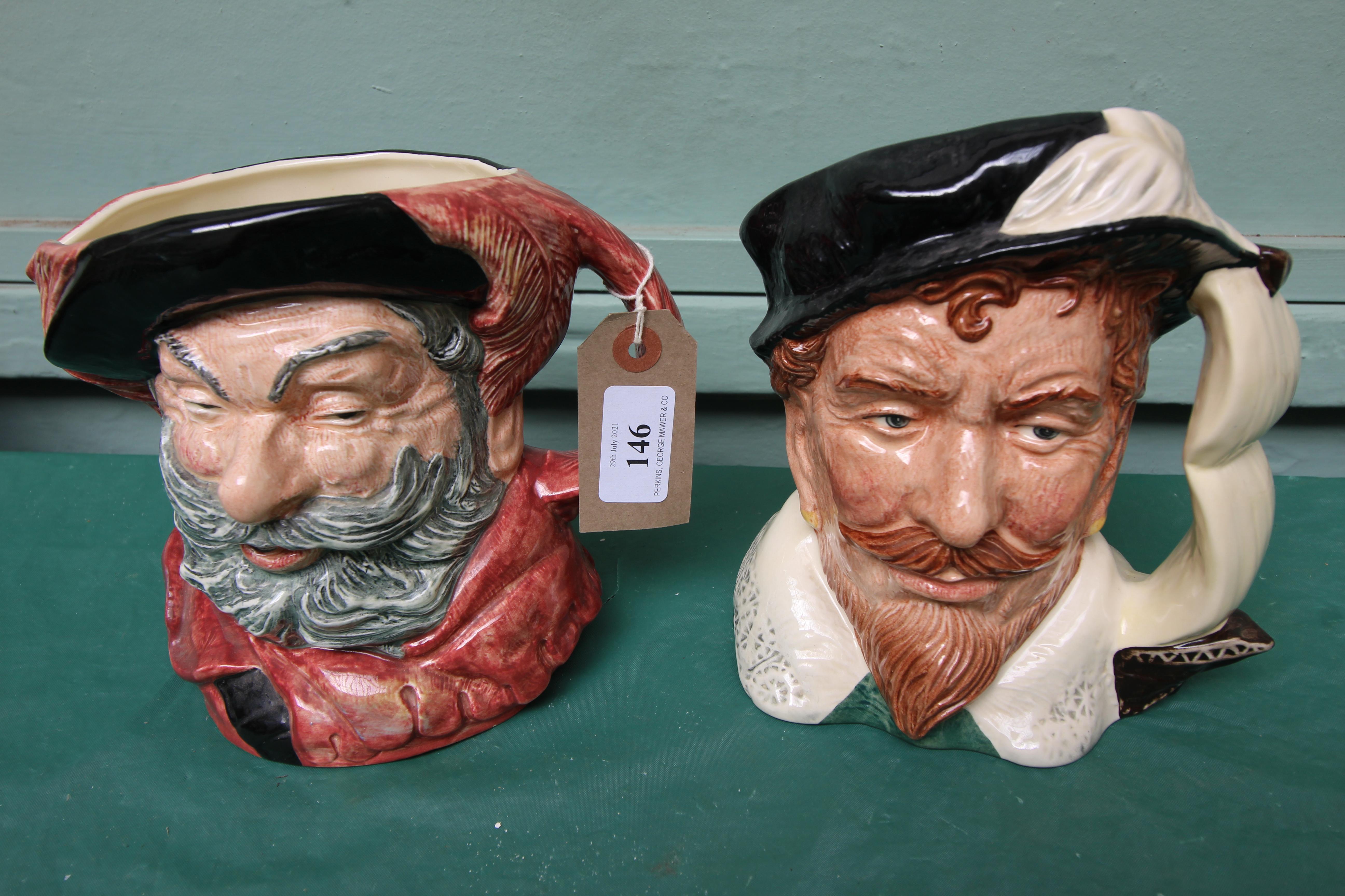 2 large Royal Doulton character jugs,