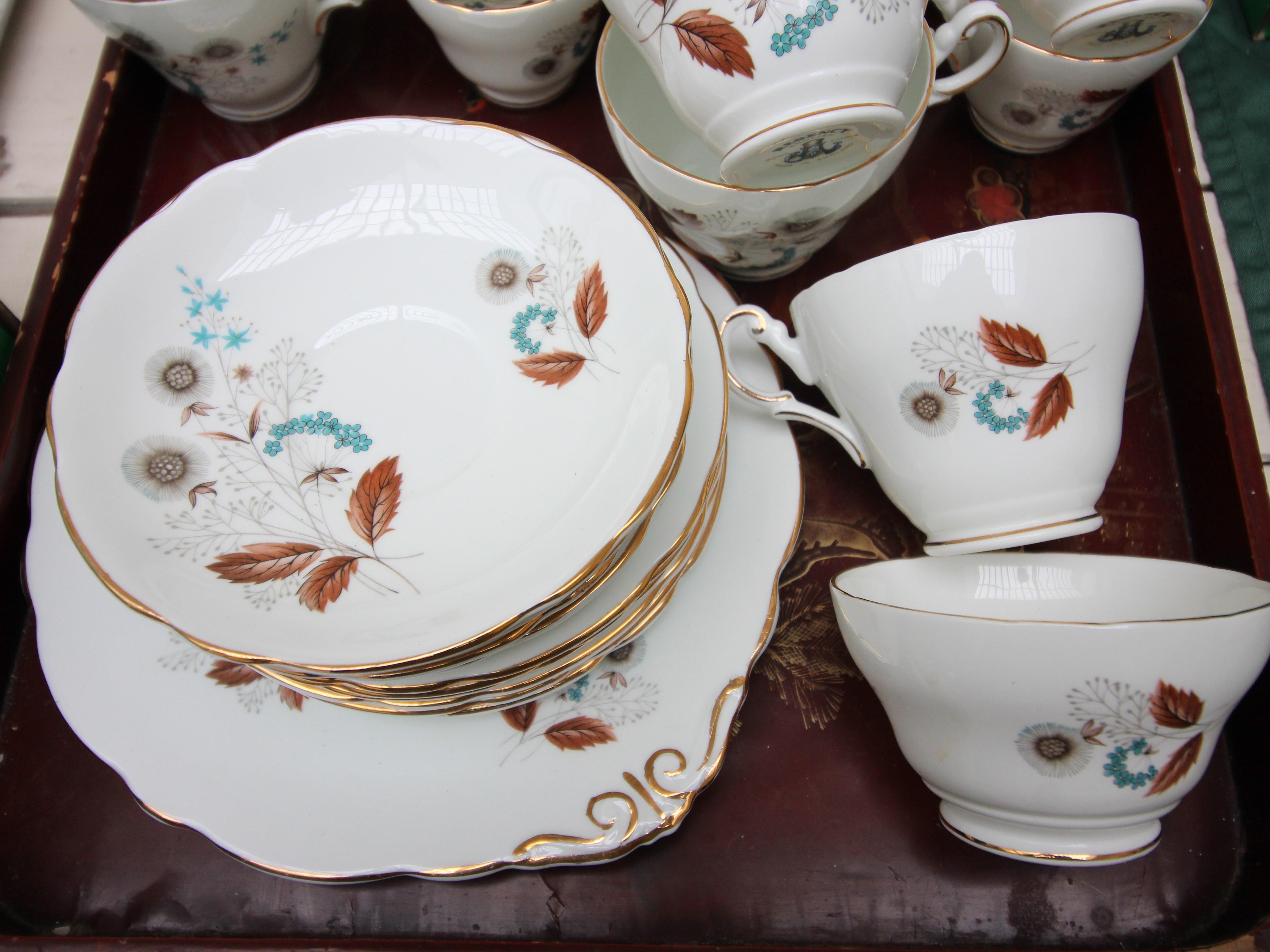 White ground English Regency bone china tea and dessert service decorated autumnal sprays incl. - Image 2 of 4