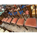 Set of 6 high backed mahogany framed dining chairs each with shaped single splat to back,