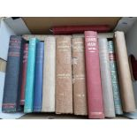 Box of books on historical,