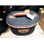Unused 'Antler' brown leather and black canvas ladies vanity case