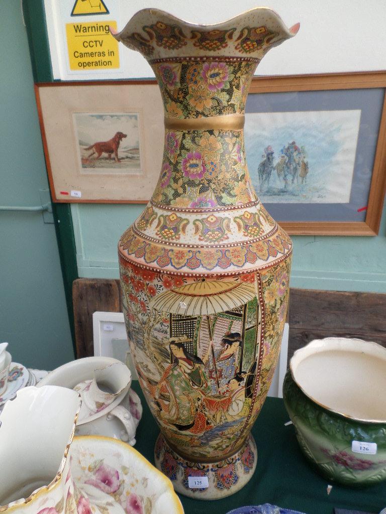 Most decorative satsuma style brown ground Oriental urn shaped vase,