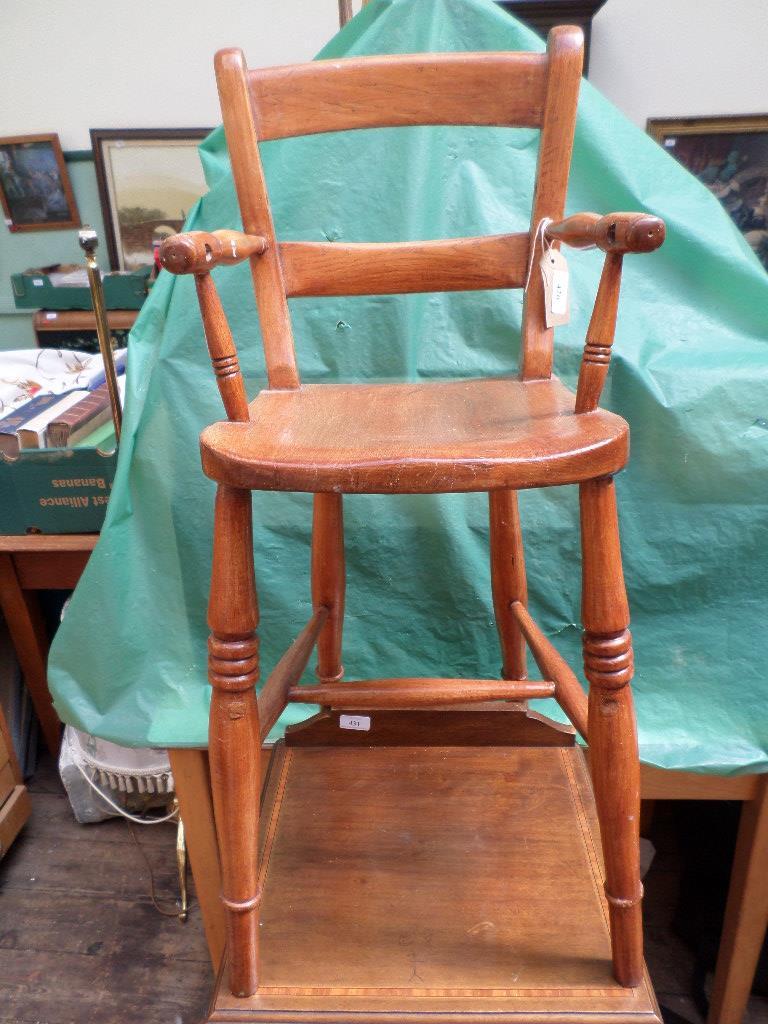 Child's handled beech wood highchair