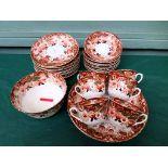 Decorative rust patterned Edwardian bone china part tea service (approx.