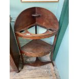 Mahogany corner washstand fitted small central drawer and 2 dummies on shaped feet