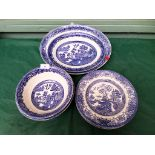 Sel. of blue and white willow patterned plates, bowl etc.