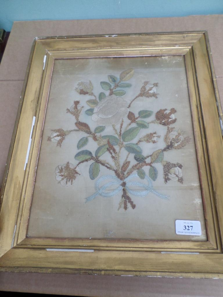 """Early gilt framed floral sampler embroidered in fine silk coloured thread (14 1/2"""" x 11"""")"""