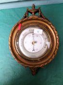 Gilt framed aneroid barometer