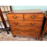 Early 20th century campaign chest with concealed brass drop handles,