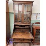 20th century dark oak bureau bookcase,