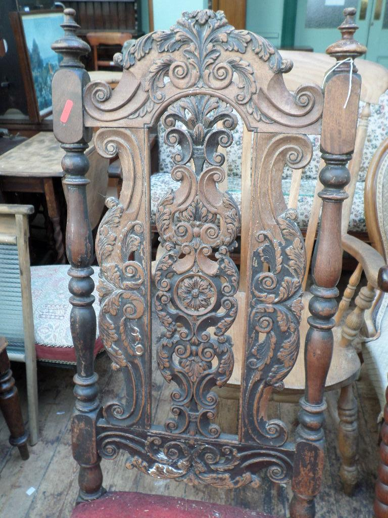 Jacobean style heavily carved high backed dining chair, - Image 2 of 2
