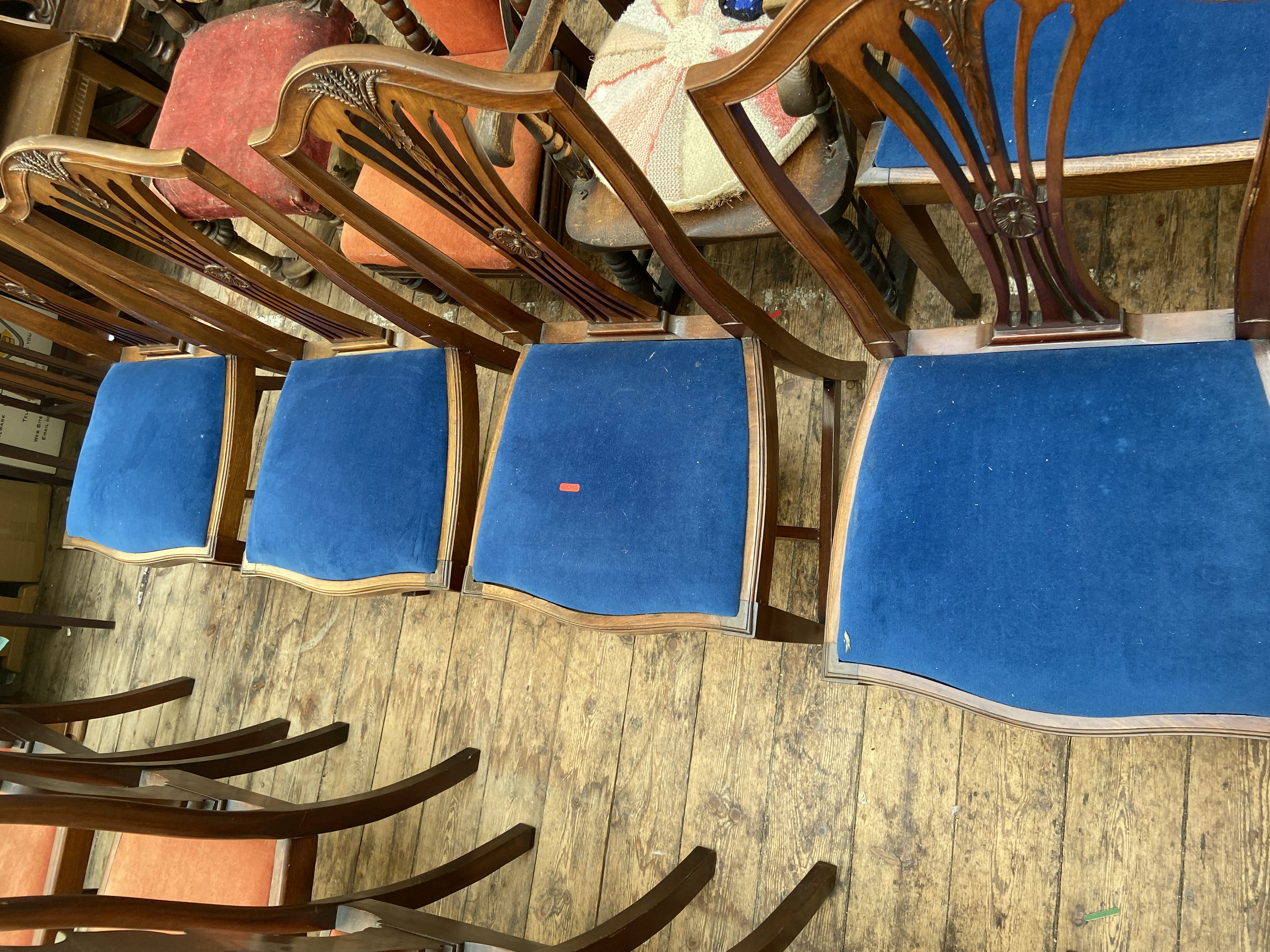 4, matching reproduction dining chairs, each with 4 splayed sticks to back beside a sheaf of corn,