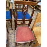 Inlaid mahogany high backed hall chair,