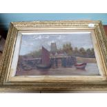 Unsigned landscape oil on canvas of rowing and sailing boat at mooring with church and cottage