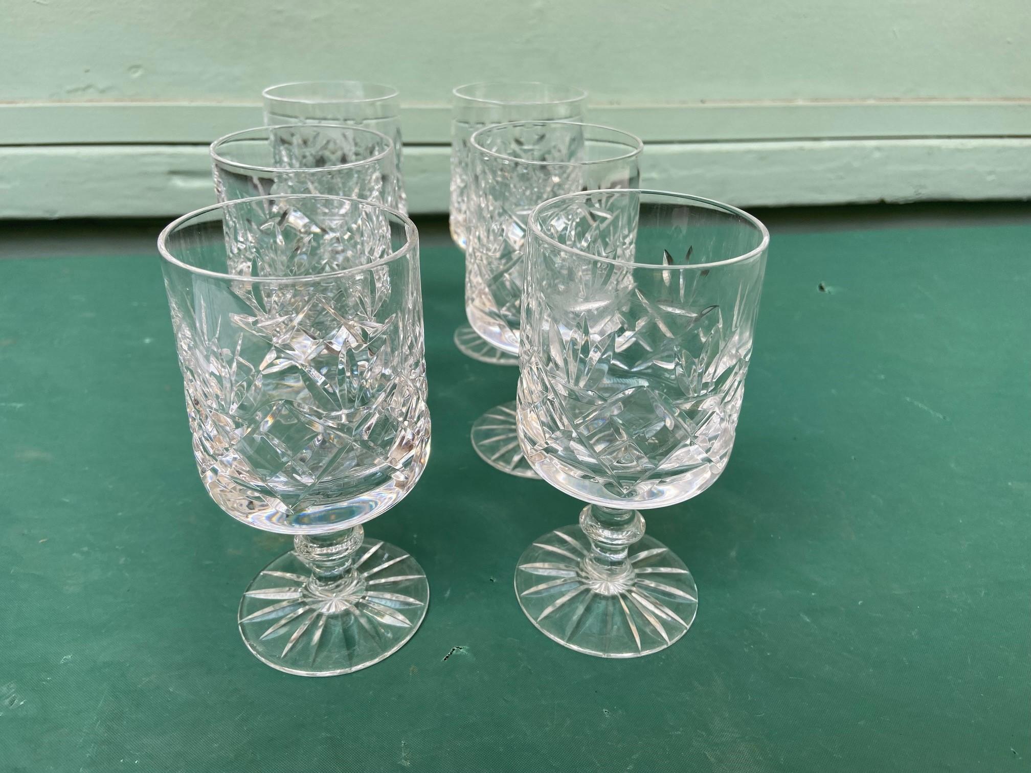 6 diamond cut Stuart crystal wine glasses - Image 10 of 11