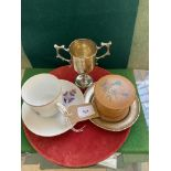 Treen face powder box and a cup,