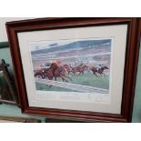 Large coloured print of Buckingham's Racecourses of Britain of The Finish at Ascot,