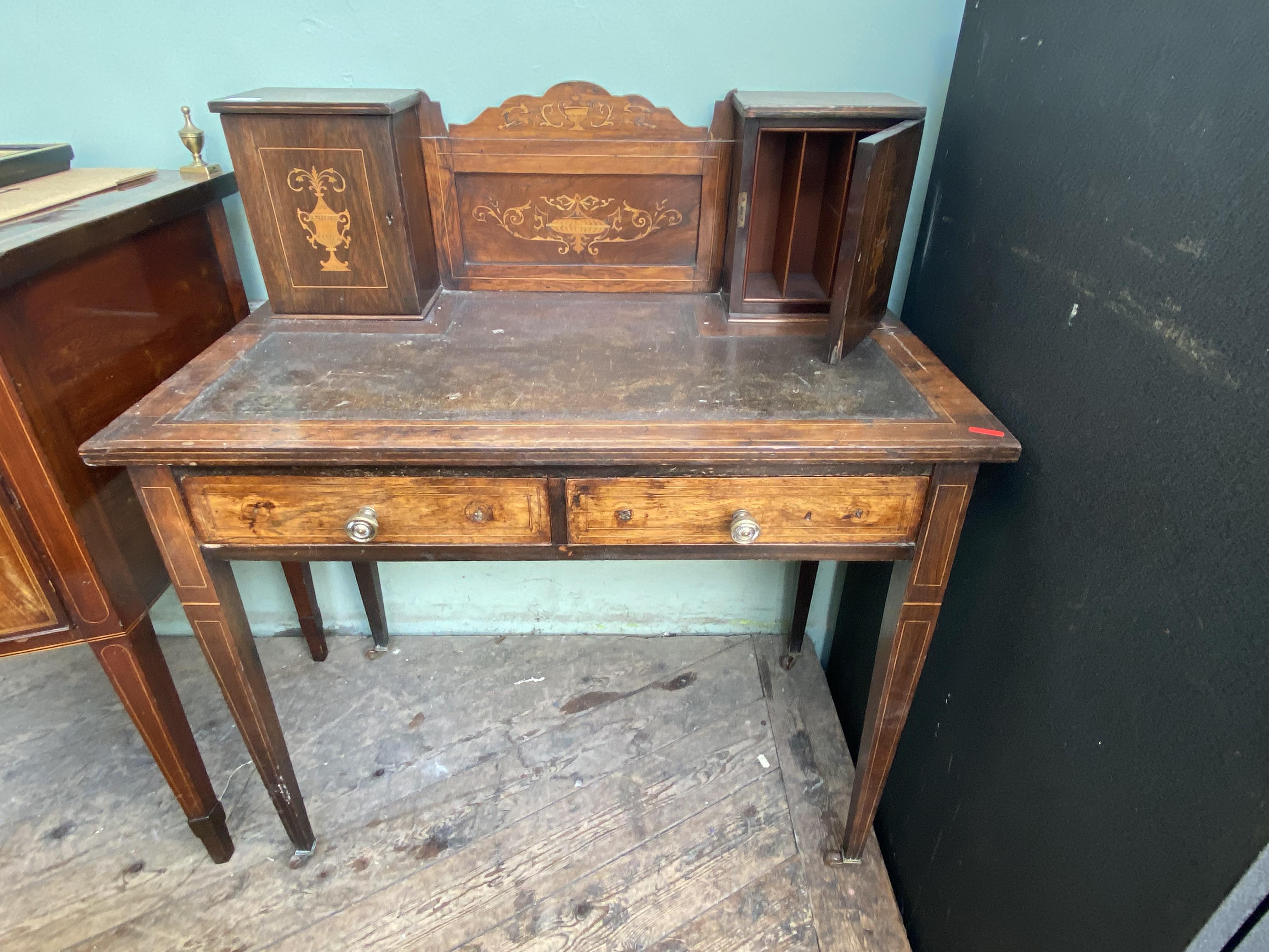 Inlaid rosewood ladies writing bureau fitted 2 upper shelved cabinets and 2 drawers below on