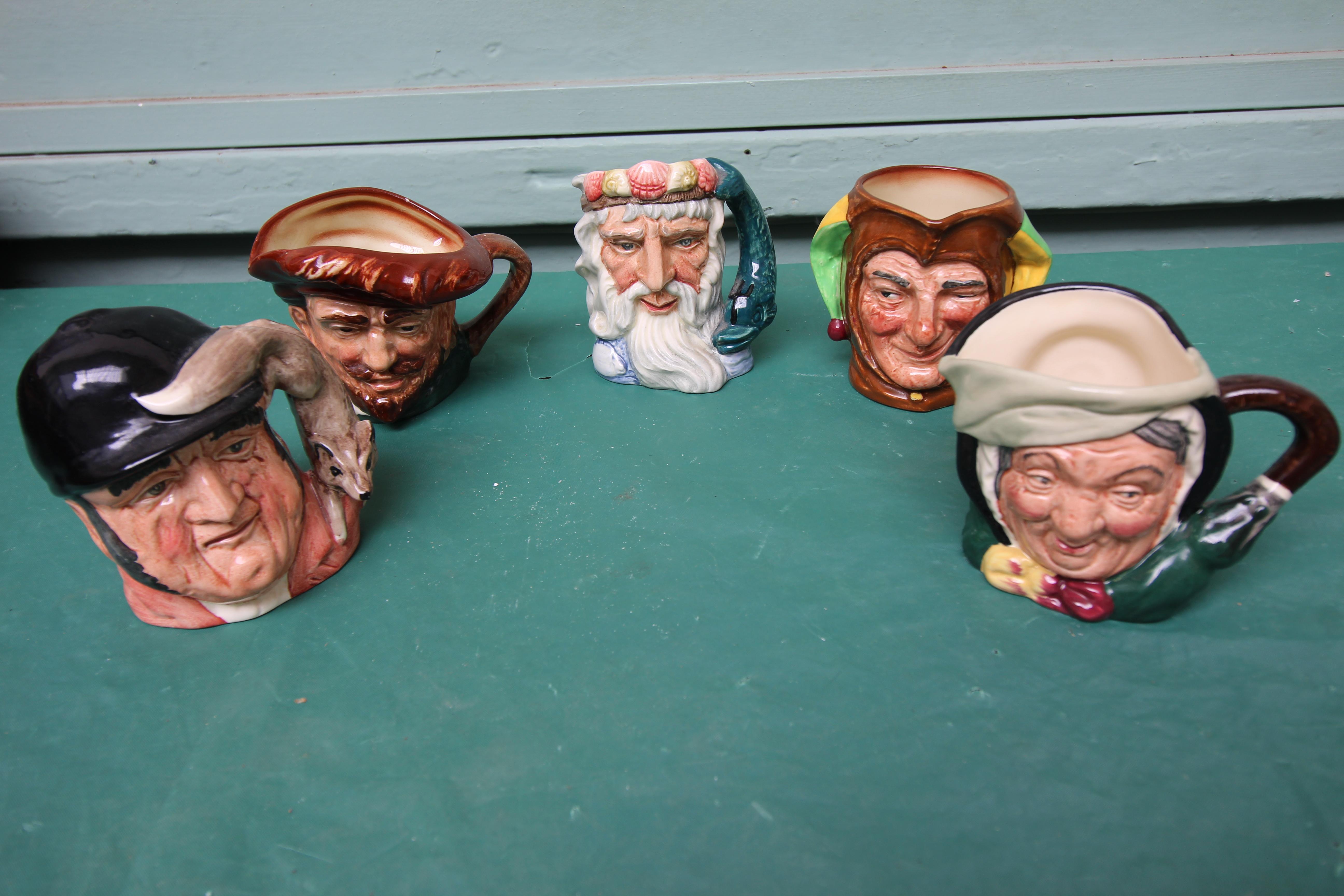 5 miniature Royal Doulton character jugs incl. Gone away, Sairey Gamp, Neptune etc.
