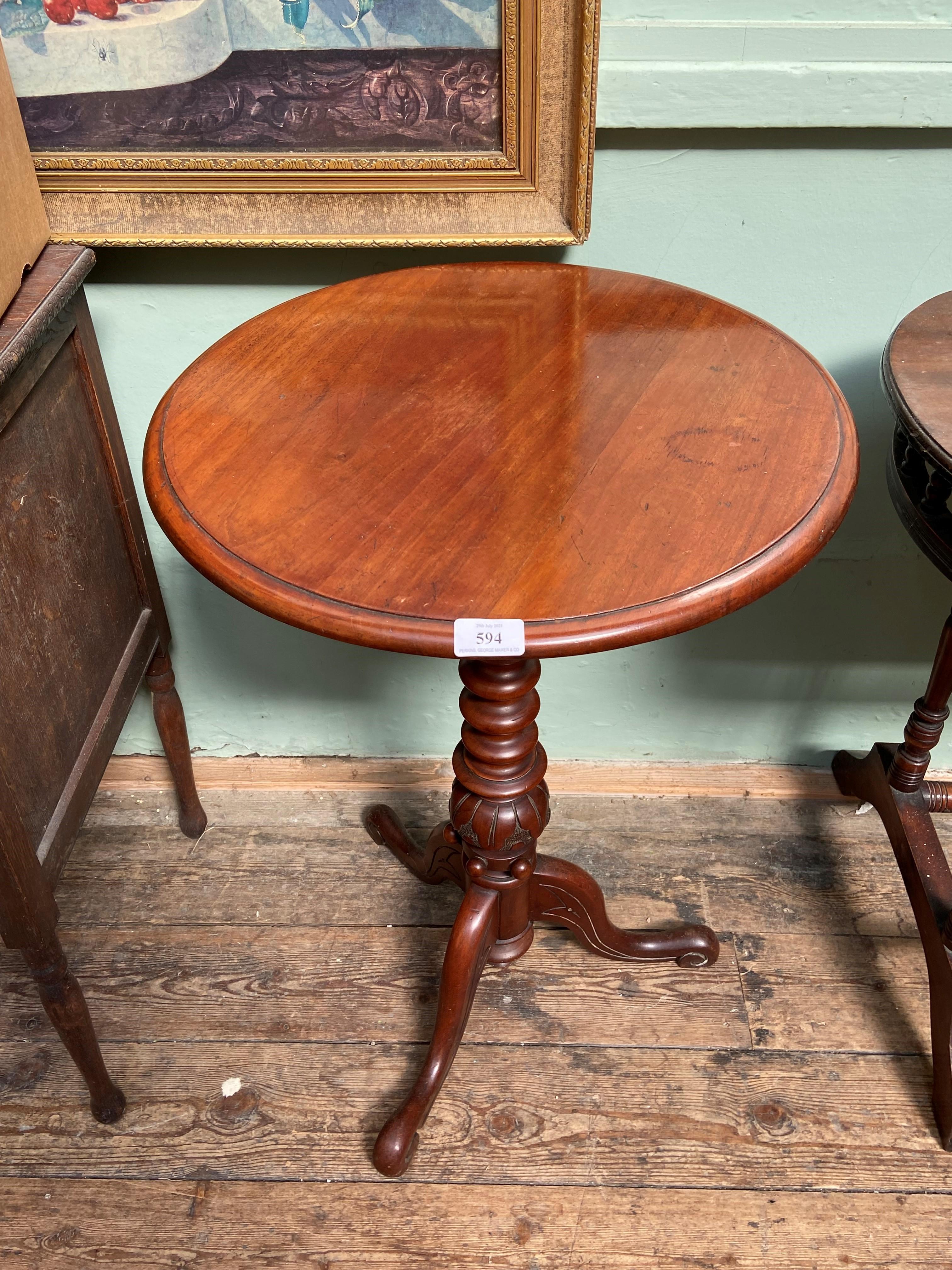 Mahogany circular topped side table on tricorn base
