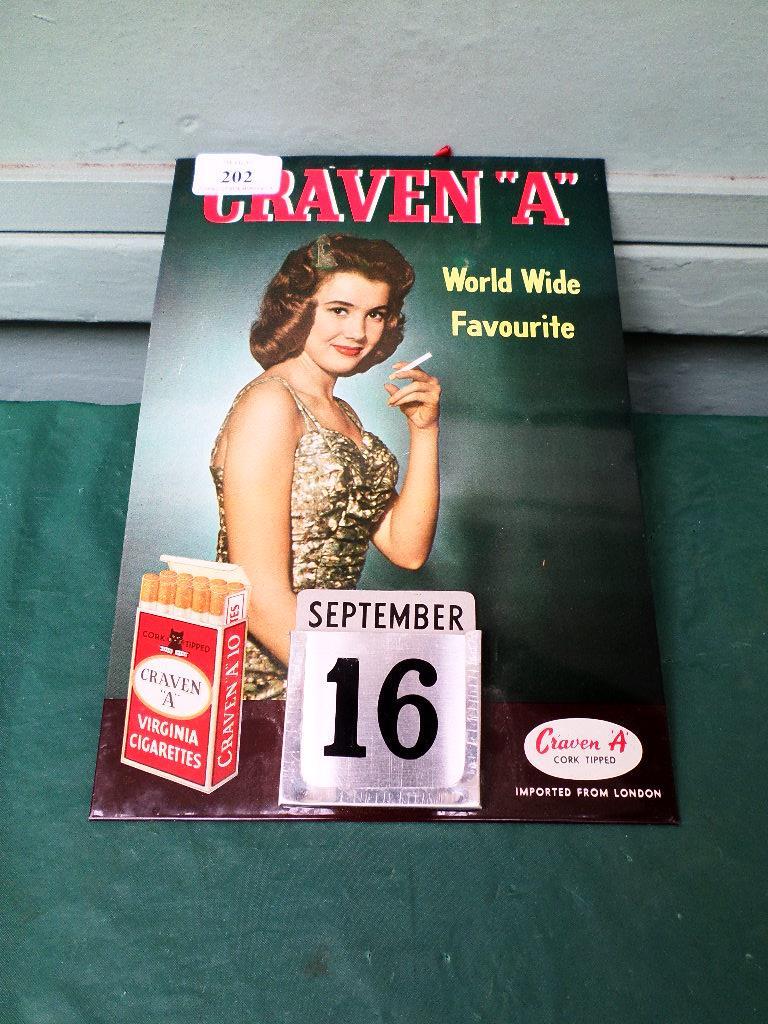 Craven A Virginia cigarettes advertising calendar