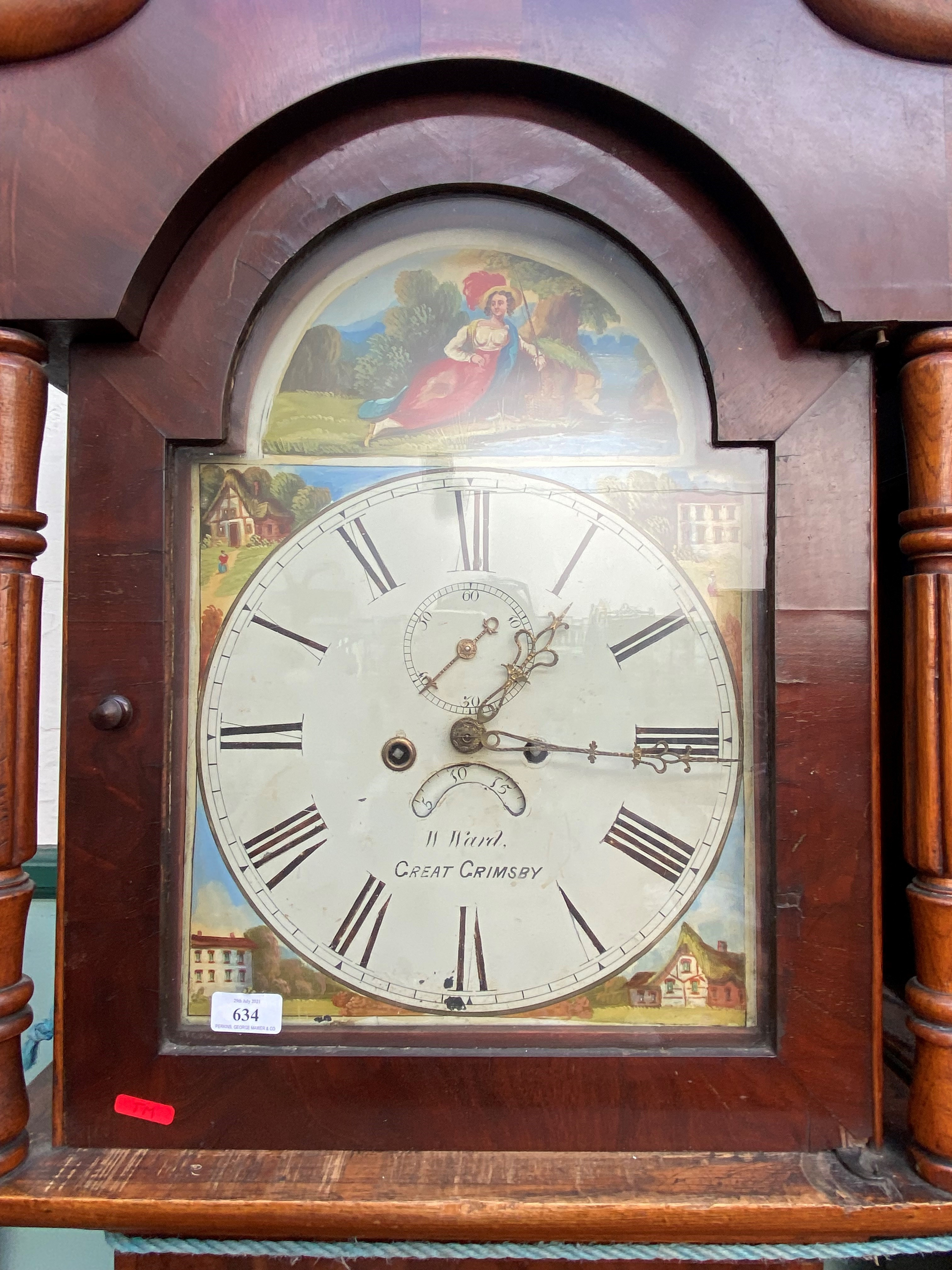 19th Century long cased clock inlaid mixed woods, swan neck pediment and brass finial, - Image 2 of 2