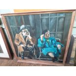 """Large framed modern oil on canvas believed by Rudolph Kordenhorst of a seated 1920's couple (37"""" x"""
