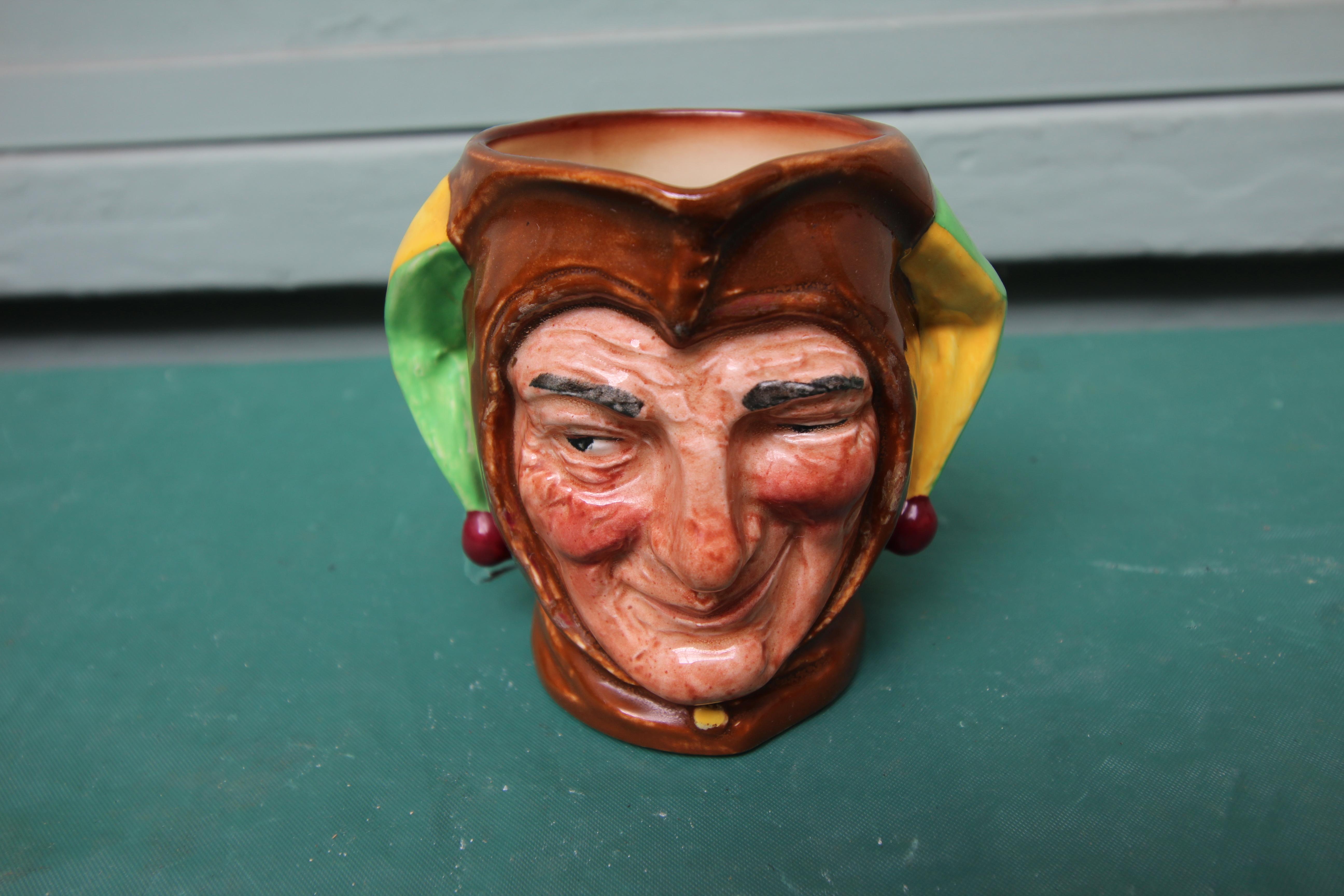 5 miniature Royal Doulton character jugs incl. Gone away, Sairey Gamp, Neptune etc. - Image 4 of 4