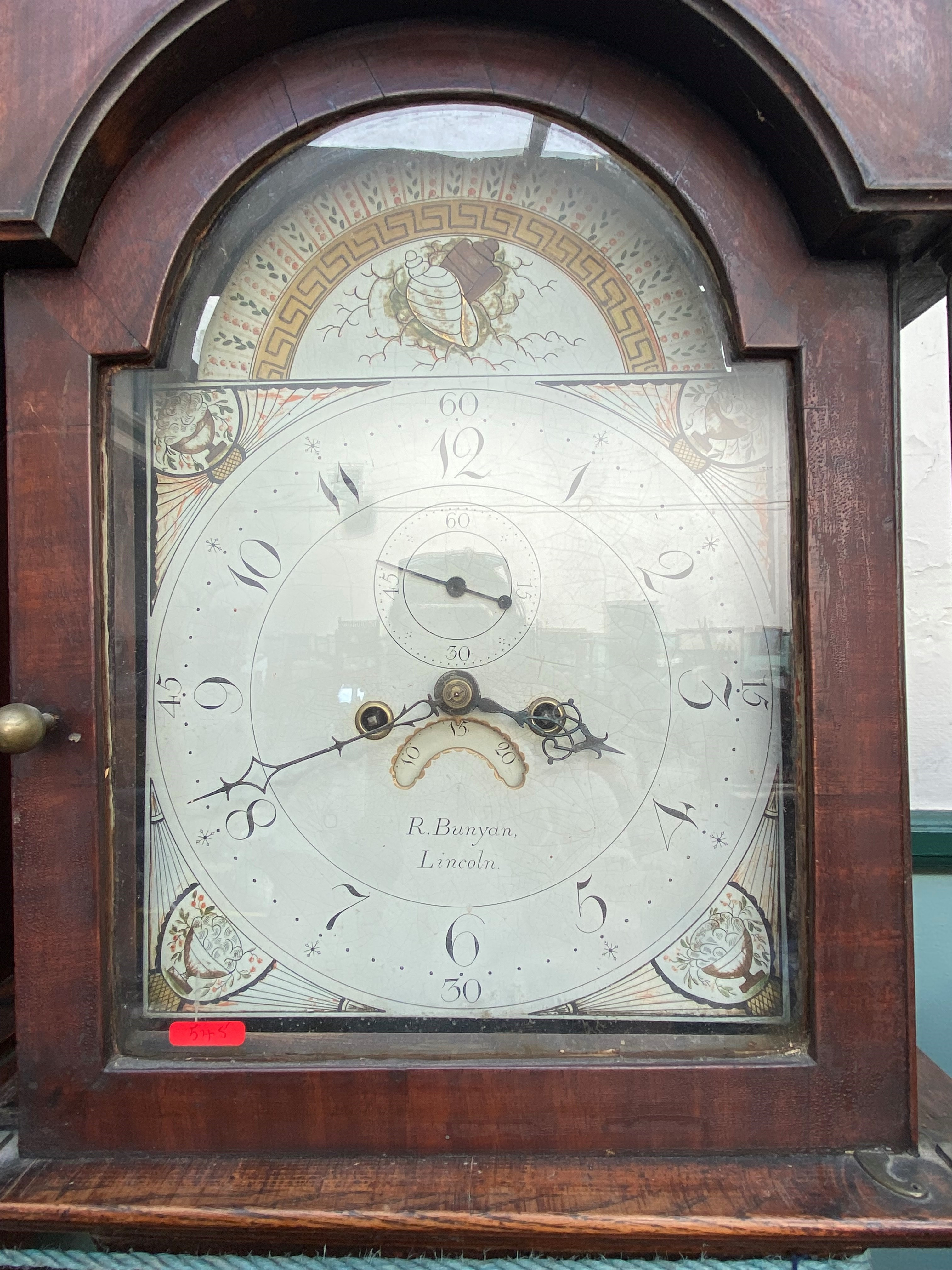 Long cased clock in mixed woods with swan neck pediment and brass finial, - Image 2 of 2